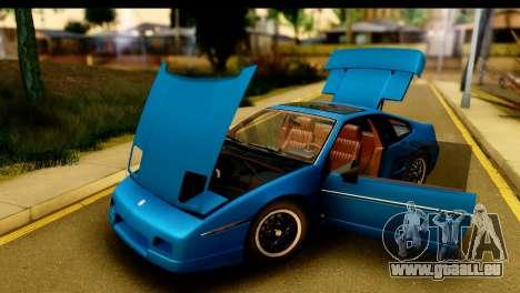 Pontiac Fiero GT G97 1985 IVF pour GTA San Andreas vue intérieure