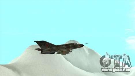 MiG 21 der sowjetischen Luftwaffe für GTA San Andreas Seitenansicht
