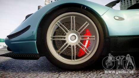 Pagani Zonda Cinque Roadster 2010 pour GTA 4 Vue arrière