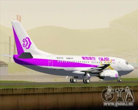Boeing 737-500 Okay Airways für GTA San Andreas zurück linke Ansicht