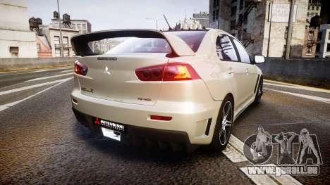 Mitsubishi Lancer Evolution X FQ400 pour GTA 4 Vue arrière de la gauche