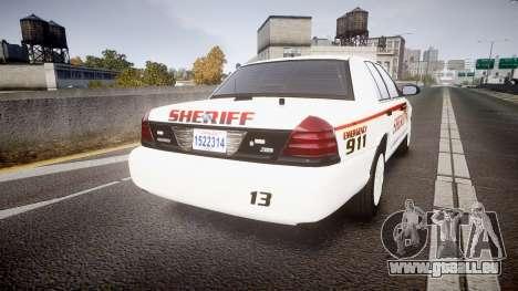 Ford Crown Victoria Sheriff [ELS] rims2 pour GTA 4 Vue arrière de la gauche