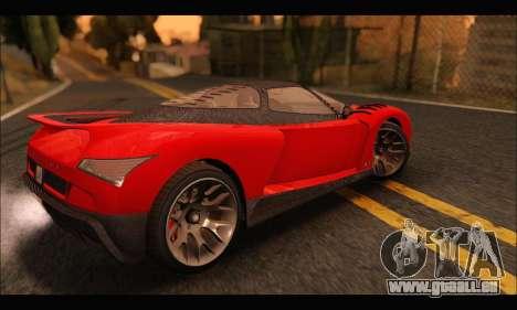 Grotti Cheetah v3 (GTA V) pour GTA San Andreas sur la vue arrière gauche