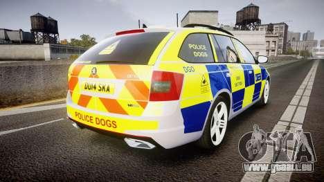 Skoda Octavia Combi vRS 2014 [ELS] Dog Unit für GTA 4 hinten links Ansicht