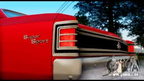 Chevrolet Chevelle SS 396 L78 Hardtop Coupe 1967 pour GTA San Andreas sur la vue arrière gauche