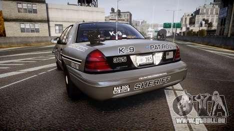 Ford Crown Victoria Sheriff K-9 Unit [ELS] pushe pour GTA 4 Vue arrière de la gauche