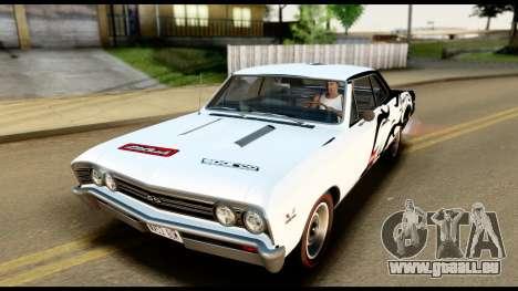 Chevrolet Chevelle SS 396 L78 Hardtop Coupe 1967 pour GTA San Andreas moteur