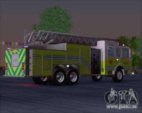 Pierce Arrow XT Miami Dade FD Ladder 22 pour GTA San Andreas vue de droite