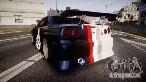 Nissan Skyline R34 GT-R Drift pour GTA 4 Vue arrière de la gauche