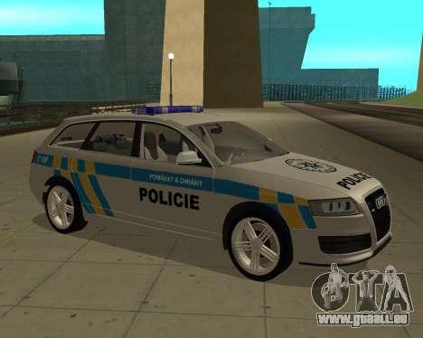 Audi RS6 Combi Police Czech Republic pour GTA San Andreas sur la vue arrière gauche