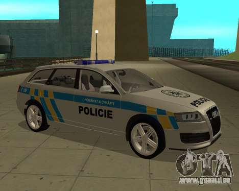 Audi RS6 Combi Police Czech Republic für GTA San Andreas zurück linke Ansicht