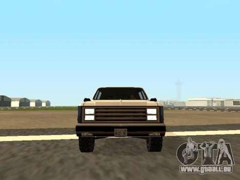 Rancher Four Door pour GTA San Andreas vue arrière