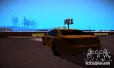 BMW M5 Gold pour GTA San Andreas vue de droite
