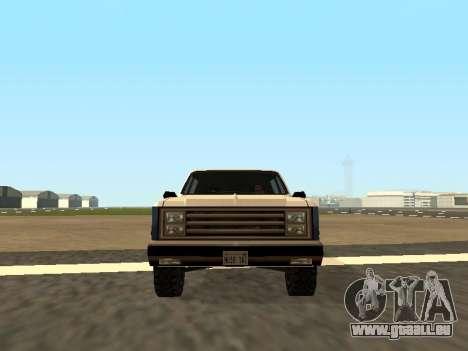 Rancher Four Door pour GTA San Andreas sur la vue arrière gauche