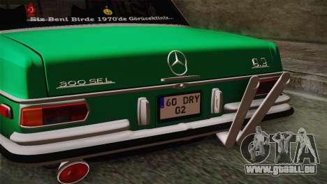 Mercedes-Benz 300 SEL DRY Garage pour GTA San Andreas vue de droite