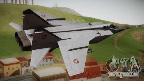 MIG 31 Estovakian Air Force pour GTA San Andreas laissé vue