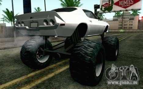 Chevrolet Camaro Z28 Monster Truck pour GTA San Andreas laissé vue