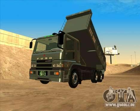 Mitsubishi Fuso Super Great Dump Truck für GTA San Andreas zurück linke Ansicht