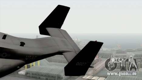 MV-22 Osprey USAF pour GTA San Andreas sur la vue arrière gauche