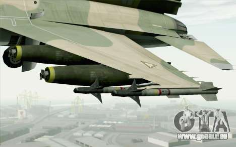 F-16 Fighter-Bomber Green-Brown Camo für GTA San Andreas rechten Ansicht