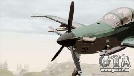 Embraer A-29B Super Tucano FAB pour GTA San Andreas vue arrière