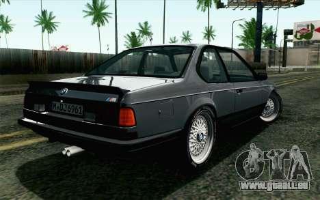 BMW M635CSI E24 1986 V1.0 EU Plate pour GTA San Andreas laissé vue