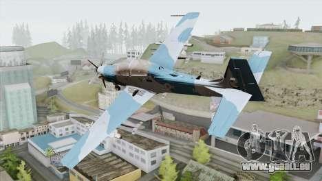 Embraer A-29B Super Tucano Navy Blue pour GTA San Andreas laissé vue