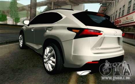 Lexus NX 200T v2 pour GTA San Andreas laissé vue