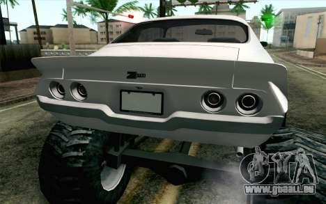 Chevrolet Camaro Z28 Monster Truck für GTA San Andreas Rückansicht