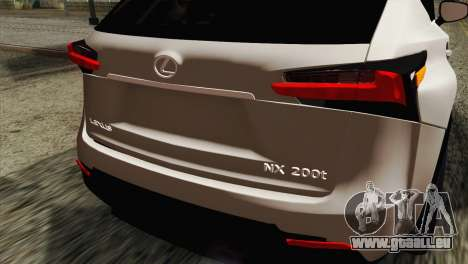 Lexus NX 200T für GTA San Andreas Rückansicht