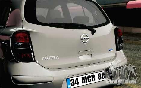 Nissan Micra für GTA San Andreas Rückansicht