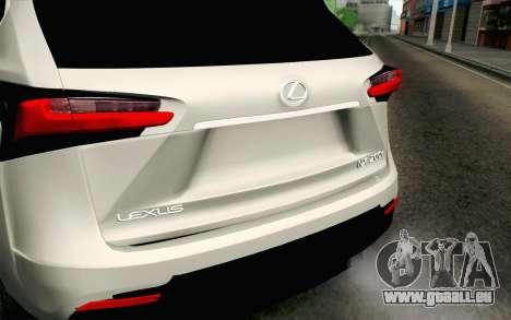 Lexus NX 200T v2 für GTA San Andreas Rückansicht