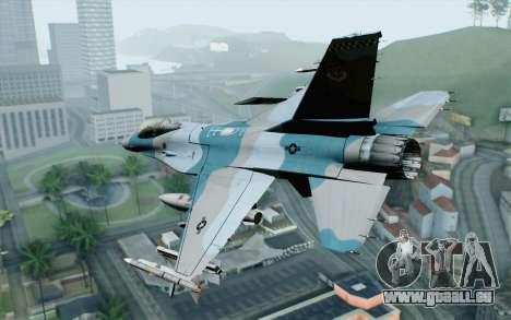 F-16C Fighting Falcon Aggressor BlueGrey pour GTA San Andreas laissé vue