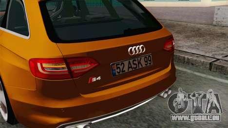 Audi S4 Avant 2013 pour GTA San Andreas vue de droite
