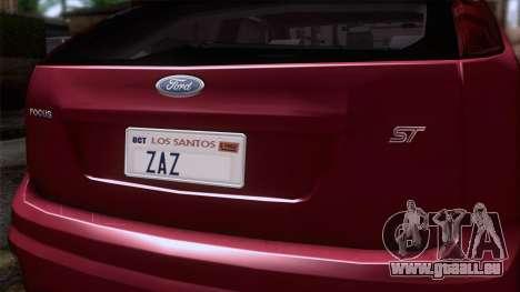 Ford Focus ST Tunable pour GTA San Andreas vue arrière