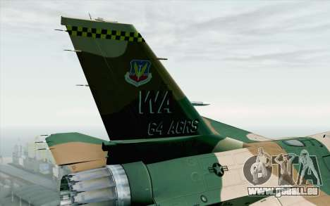 F-16C Fighting Falcon Aggressor 272 pour GTA San Andreas sur la vue arrière gauche