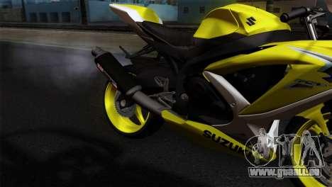 Suzuki GSX-R 2015 Yellow & White für GTA San Andreas Rückansicht