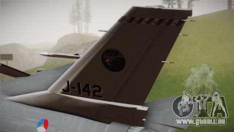 F-16 Fighting Falcon RNLAF Solo Display J-142 für GTA San Andreas zurück linke Ansicht
