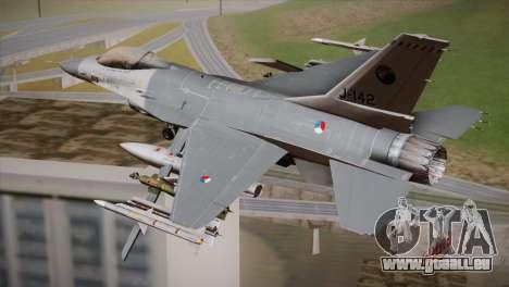 F-16 Fighting Falcon RNLAF Solo Display J-142 pour GTA San Andreas laissé vue