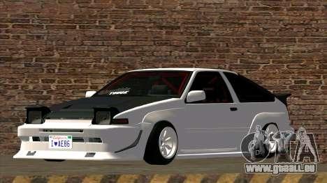 Toyota AE86 für GTA San Andreas zurück linke Ansicht