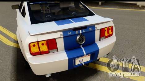 Ford Mustang Shelby GT500KR pour GTA San Andreas vue intérieure