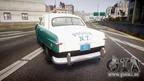 Ford Custom Deluxe Fordor 1949 New York Police pour GTA 4 Vue arrière de la gauche
