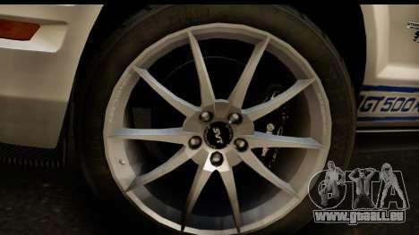 Ford Mustang Shelby GT500KR pour GTA San Andreas vue de droite