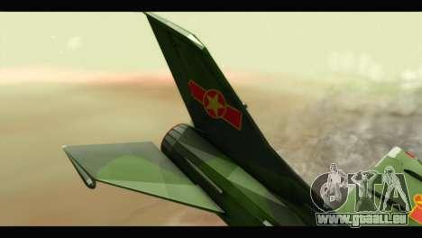 Mikoyan-Gurevich MIG-21UM Vietnam Air Force v2.0 pour GTA San Andreas sur la vue arrière gauche