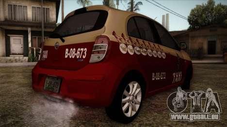 Nissan Micra Taxi DF 2012 pour GTA San Andreas laissé vue