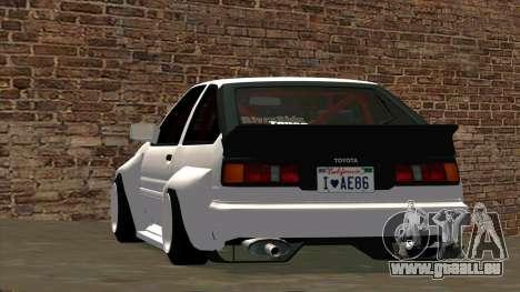 Toyota AE86 pour GTA San Andreas vue de côté