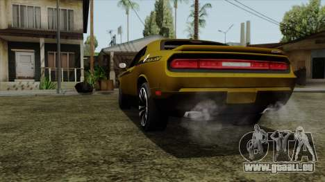 Dodge Challenger Yellow Jacket für GTA San Andreas zurück linke Ansicht