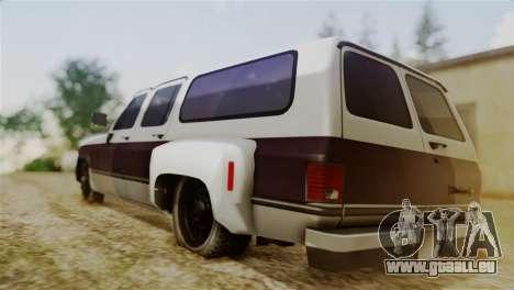Chevrolet Suburban Dually pour GTA San Andreas laissé vue