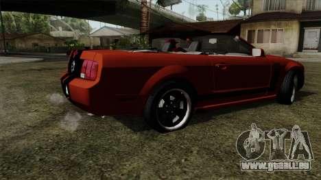 Ford Mustang Boss Cabriolet 2005 pour GTA San Andreas sur la vue arrière gauche