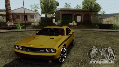 Dodge Challenger Yellow Jacket pour GTA San Andreas laissé vue